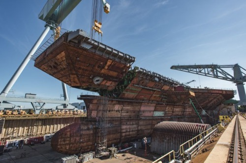Huntington Ingalls Industries Completes Flight Deck on Aircraft Carrier John F. Kennedy