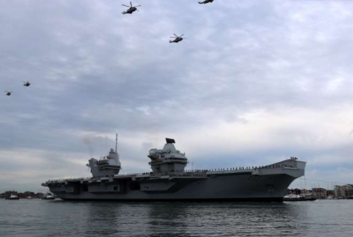 HMS Queen Elizabeth Stuck In Port Due To Bad Weather