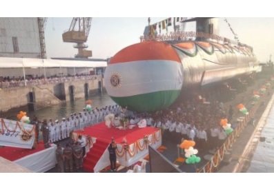 Third Scorpene Submarine 'Karanj' Launched at Mazagon Docks