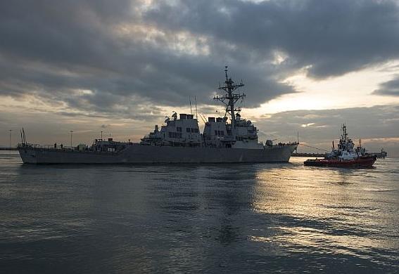 USS John S. McCain Departs Changi Naval Base for Heavy Lift Preparations