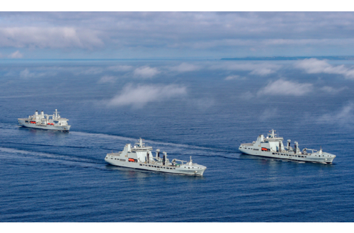 Royal Fleet Auxiliary Ships Link-Up During Sea Trials